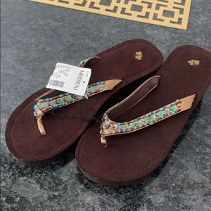 NWT medium brown wedge flip flops